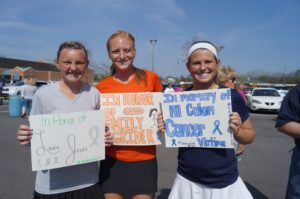 Girls hold signs