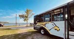 Bus at lake